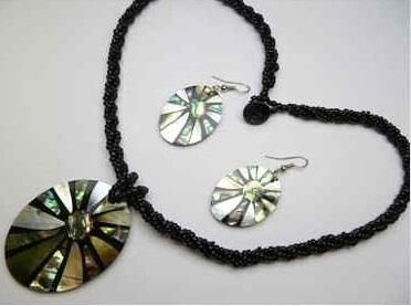 2 sea shell pendant wsea beads necklace earring set 30391 2 sea shell pendant wsea beads necklace earring set aloadofball Images